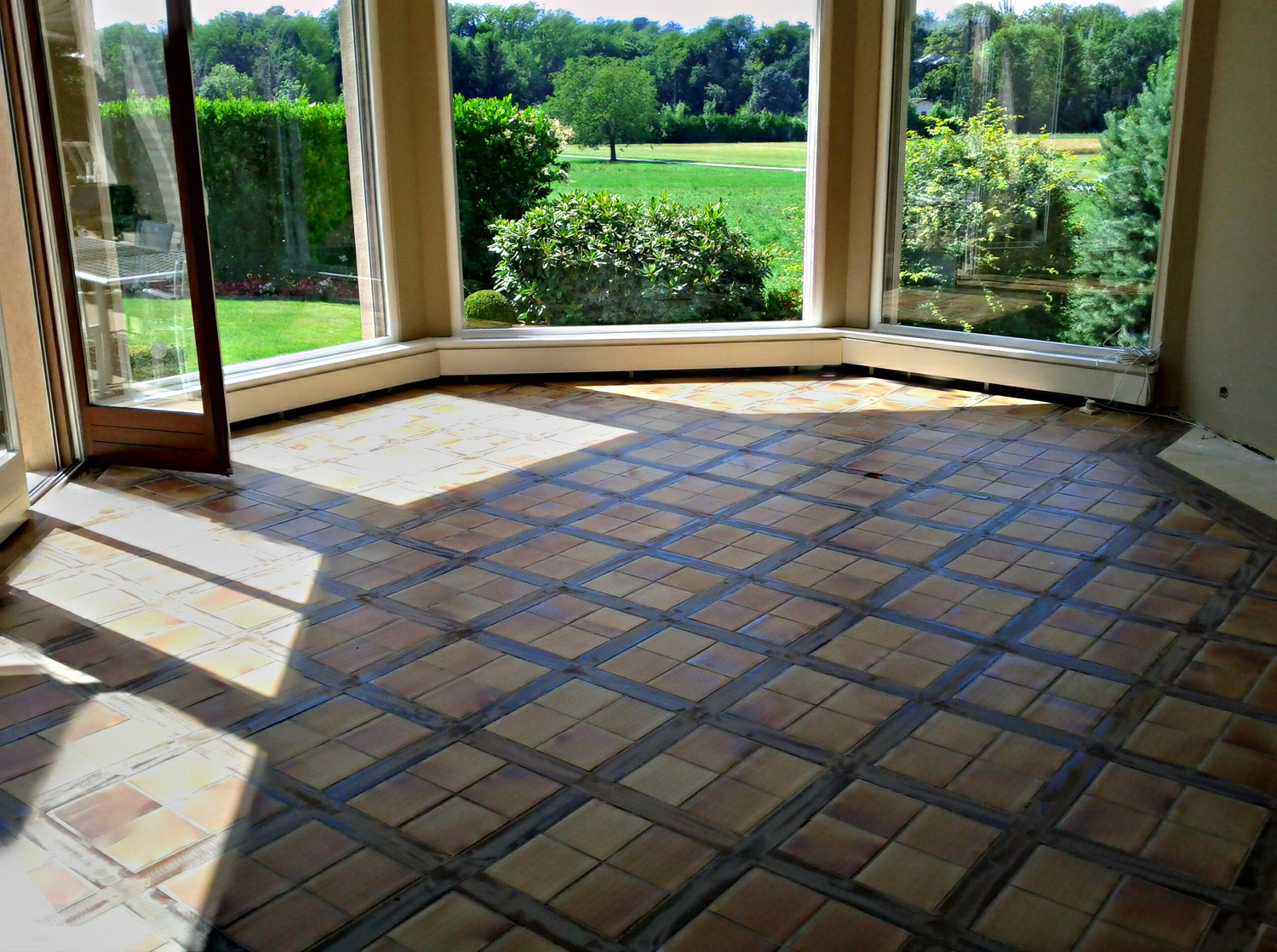 Parquet flottant dans une salle bain for 2 carrelage different